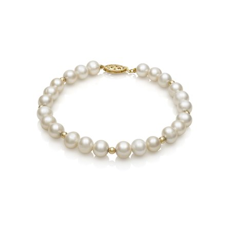 14K Yellow Gold Cultured Freshwater Pearl and Bead Bracelet, (Labradorite Pearl Bracelet)