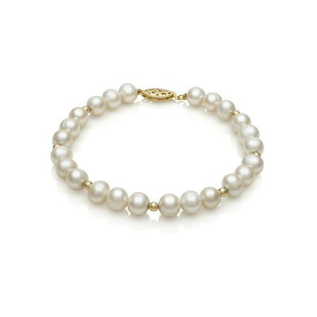 Real Pearl Bracelet - 14K Yellow Gold Cultured Freshwater Pearl and Bead Bracelet, 7.5