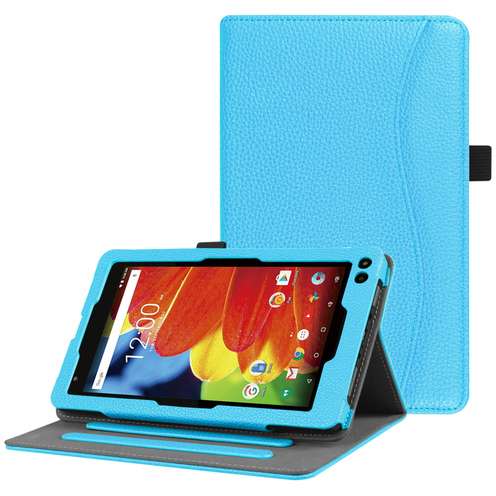 Fintie RCA 7 / Voyager 7 / Voyager Pro Tablet Case - Multi-Angle Viewing Folio Stand Cover w/ Pocket, Blue