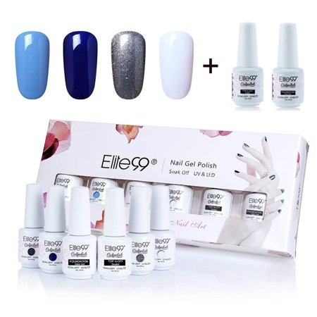 Elite99 8ml Gel Polish Soak Off UV LED High Quality Gel Nail Polish Kit With Top Coat Base Coat Nail Art Gift Box Set of 6