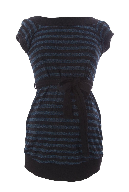 JULES & JIM Maternity Women's Striped Belted Sweater, Medium, Teal/Black