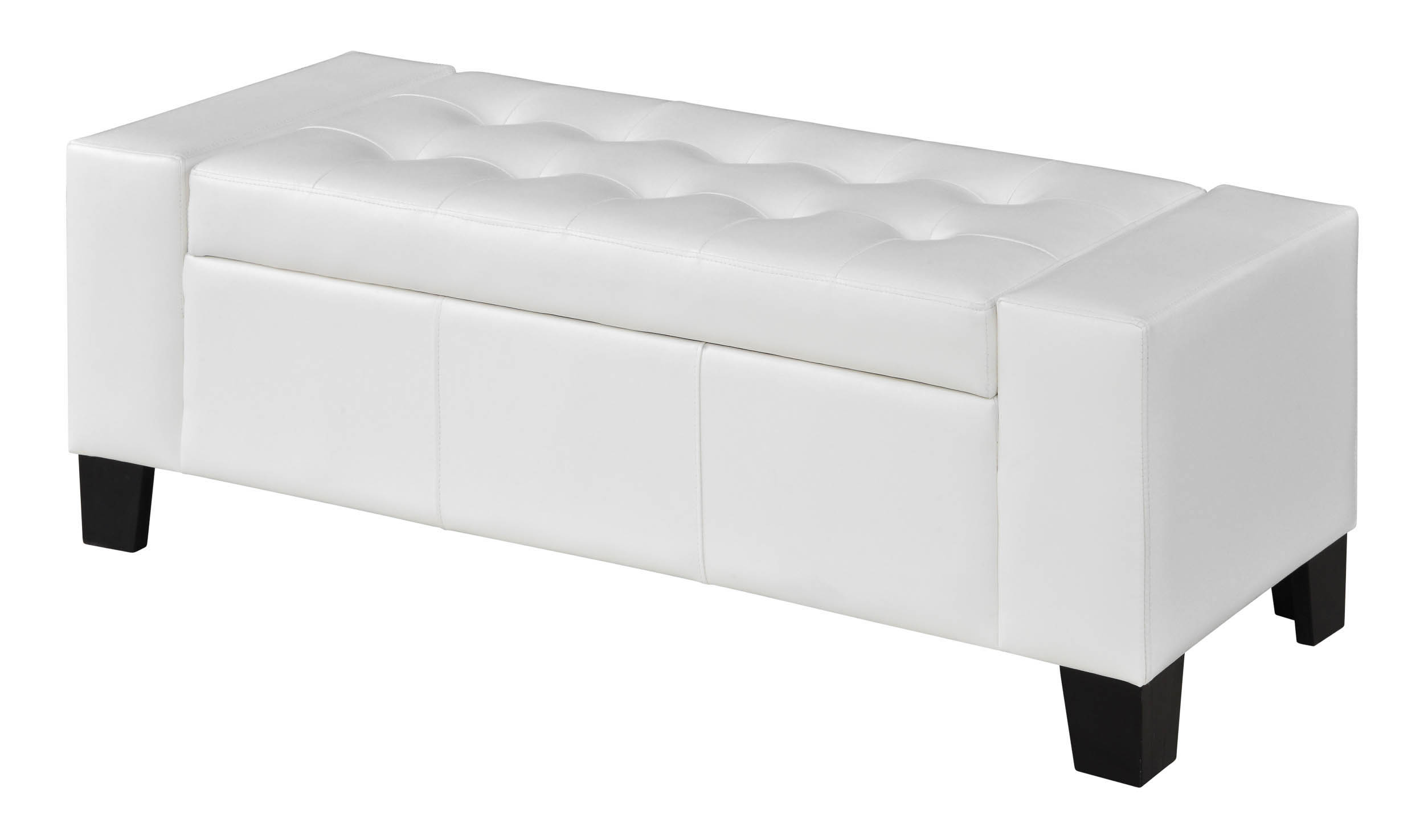 Wallace 52 Inch White Faux Leather Storage Bench