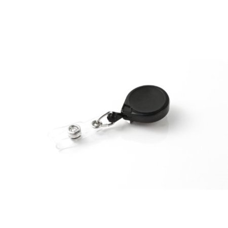"KEY-BAK MINI-BAK Retractable Badge Holder with 24"" Nylon Cord, Steel Belt Clip, Black"