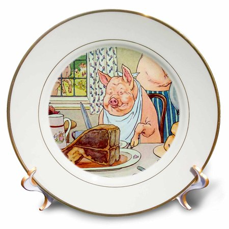 3dRose Dinner AT The Pig House, Porcelain Plate, 8-inch ()