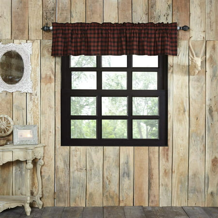 (Chili Pepper Red Rustic & Lodge Kitchen Curtains Shasta Cabin Rod Pocket Cotton Hanging Loops Buffalo Check 16x60 Valance)