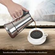 450mL Stainless Steel Espresso Percolator Espresso Maker Pot Top Coffee Maker Italian Espresso Coffee Maker Pot Moka Pot