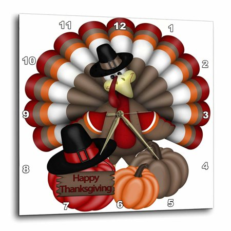 3dRose Cute Red, Orange, and Brown Turkey With Happy Thanksgiving , Wall Clock, 10 by 10-inch