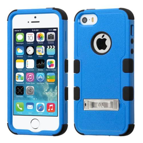 Insten Hard Hybrid Rubberized Silicone Cover Case w/stand For Apple iPhone SE 5S 5 - Blue/Black