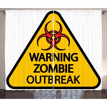 Zombie Curtains 2 Panels Set, Warning the Zombie Outbreak Sign Cemetery Infection Halloween Graphic, Window Drapes for Living Room Bedroom, 108W X 96L Inches, Earth Yellow Red Black, by Ambesonne](Halloween Cemetery Signs)
