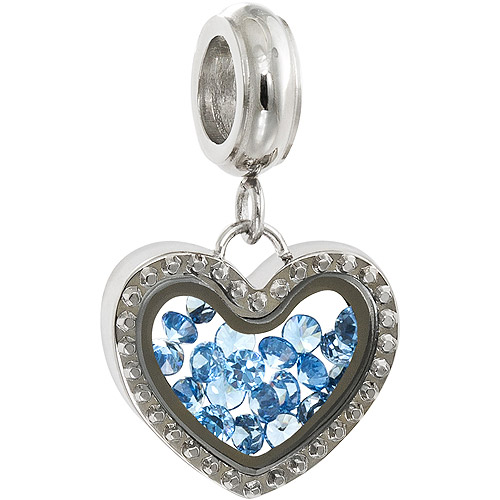 Connections from Hallmark Stainless Steel Floating Crystal Shaker Dangle Charm, December