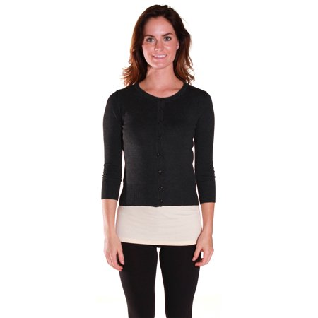 Neck Kit - Active USA Junior Women's Knit Basic Round Neck Cardigan Sweater - Junior and Plus Sizes