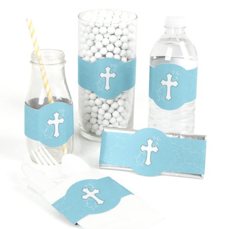 Little Miracle Boy Blue & Gray Cross - Baptism DIY Party Wrapper Favors - Set of - Party City Baptism