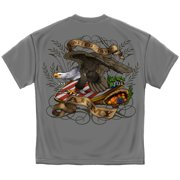 Erazor Bits MM157L Army Shield & Eagle T-Shirt, Steel Gray - Large