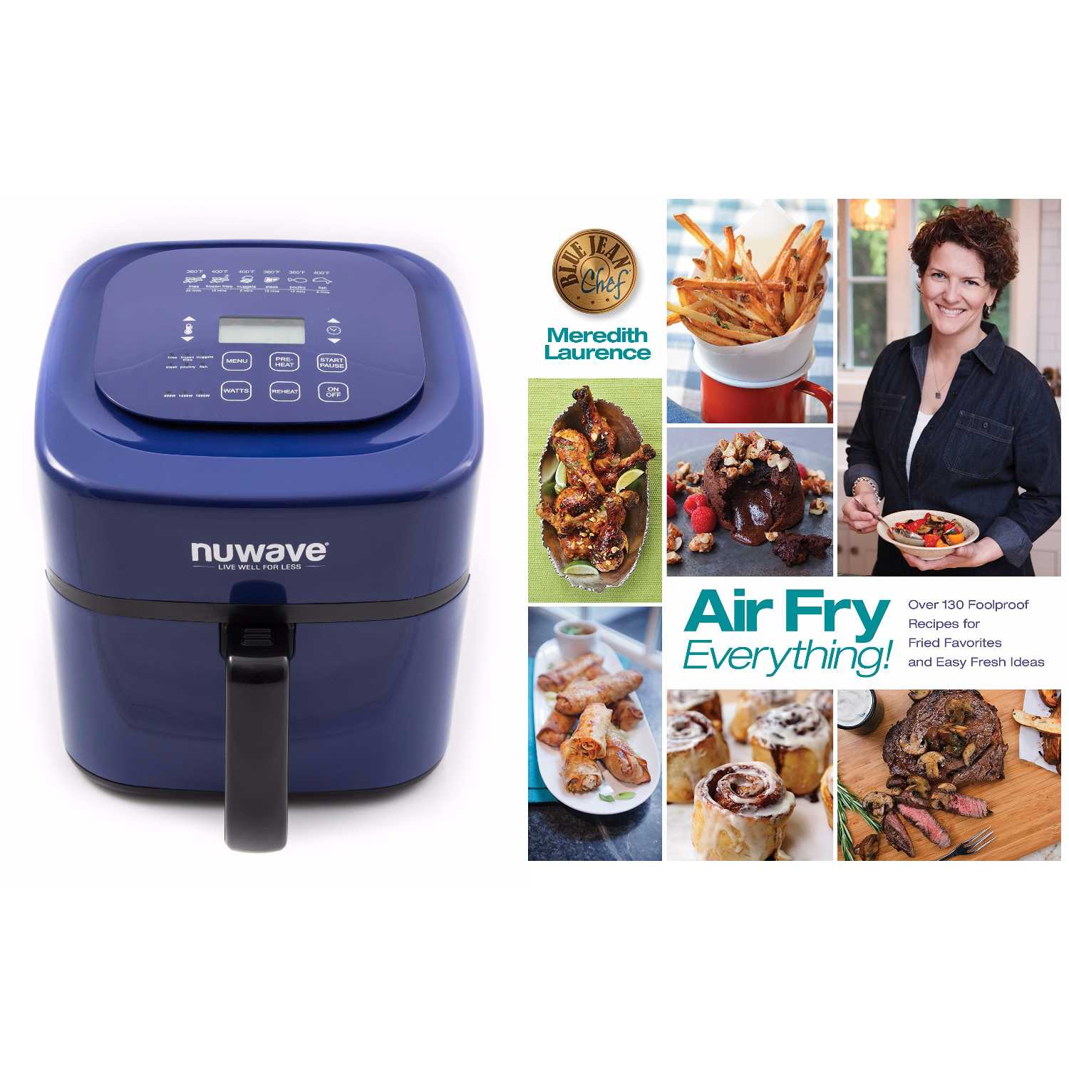 "NuWave Brio Digital Air Fryer (6 qt, Blue) with ""Air Fry Everything"" Cookbook"