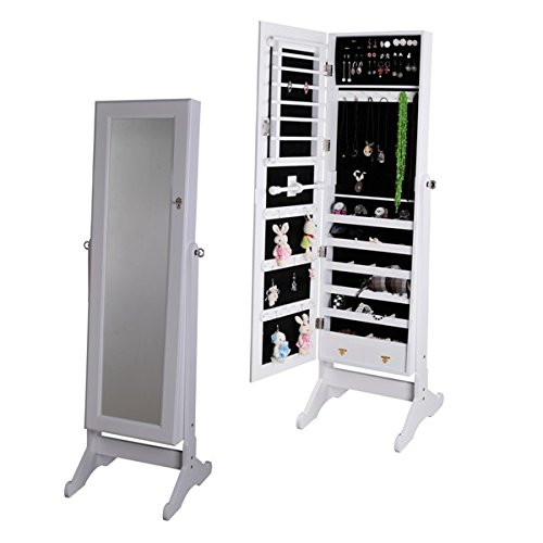 White Mirrored Jewelry Cabinet Armoire W Stand Mirror Rings
