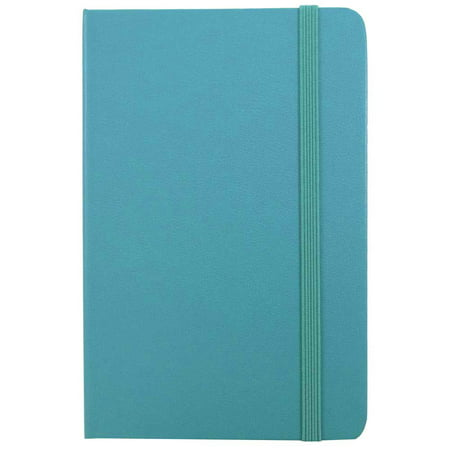JAM Paper Hardcover Notebook with Elastic Band, Large, 5 7/8 x 8 1/2 Journal, Caribbean Blue, 100 Lined Sheets, Sold - Map Paper Journal