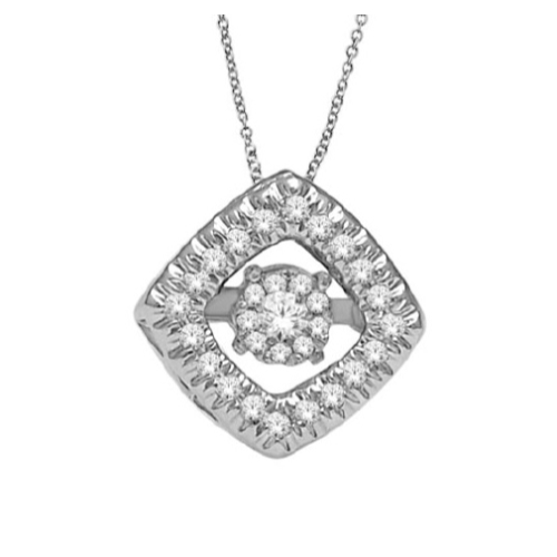 Genuine Natural .10 Carat Dancing Diamond Square Cluster Pendant Necklace In 14K White Gold.