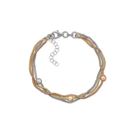 Layered Three Strand Three Tone Gold Silver and Rose Gold Popcorn Chain Bracelet Adjustable - Silver Tone Strand Bracelet