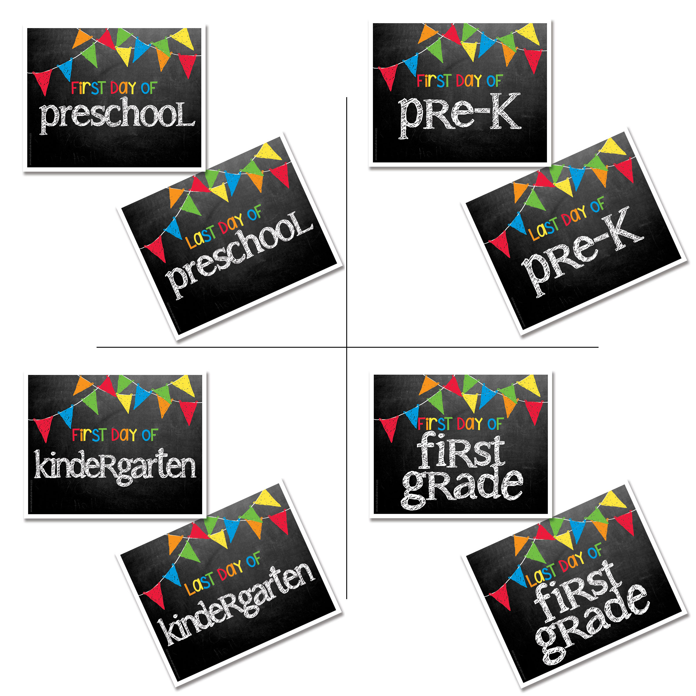 Last Day First Day Of School 8x10 Photo Prop Signs Entire Series