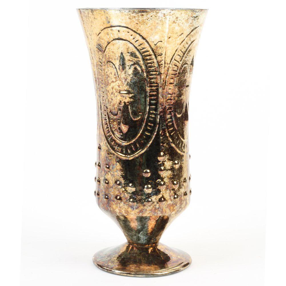 Koyal Wholesale Burnt Gold Fleur De Lis Trumpet Vase