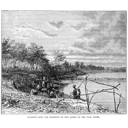 Diamond Mining C1870 Nminers Recovering Diamonds From Gravels On The Banks Of The Vaal River South Africa C1870 Contemporary Wood Engraving Rolled Canvas Art     24 X 36