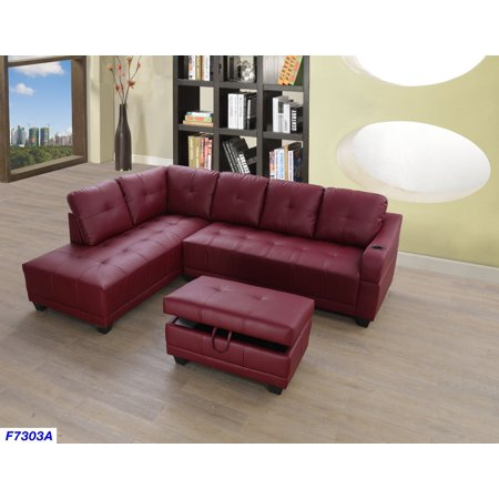 Bill Left Facing Sectional Sofa with Ottoman,Red