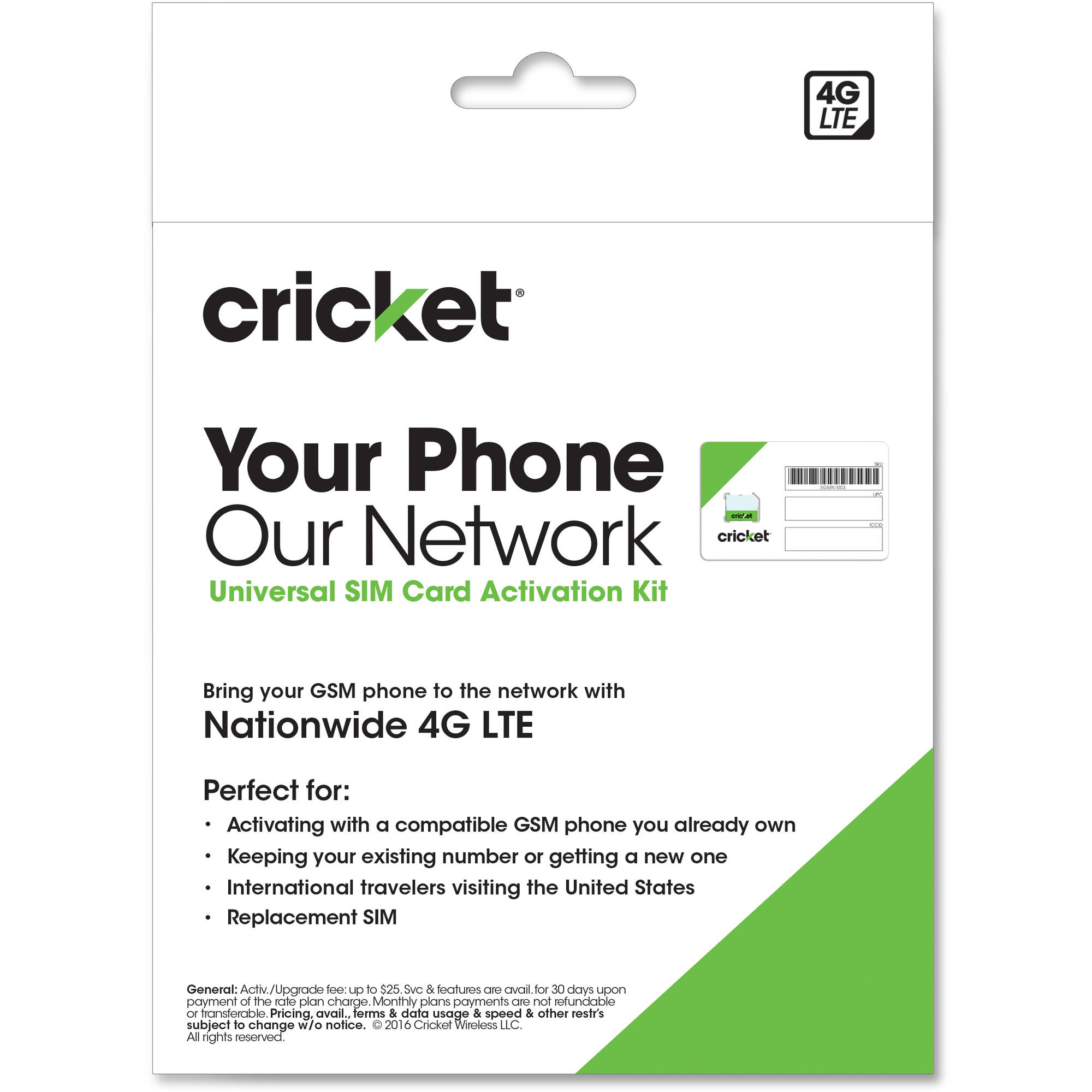 Cricket Wireless Complete Starter Pack: 3-in-1 SIM Card fits all Sizes  Standard, Micro and Nano