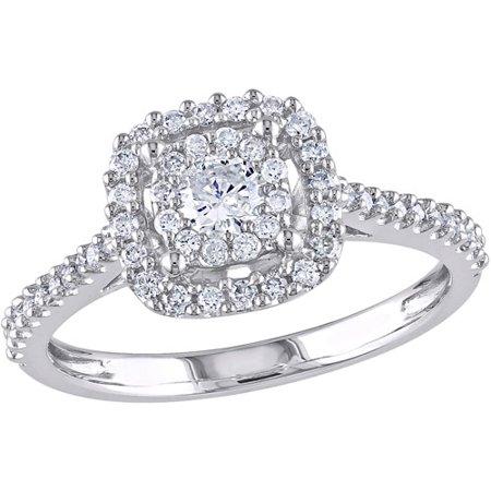 miabella 12 carat tw certified diamond 10kt white gold double halo engagement ring walmartcom - Walmart Jewelry Wedding Rings
