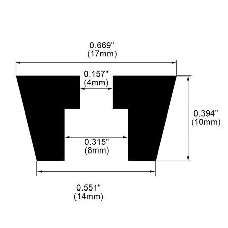 50pcs Rubber Feet Bumper Pad for Amplifier Printer Cabinet Desk Leg, D17x14xH10mm - image 3 of 7