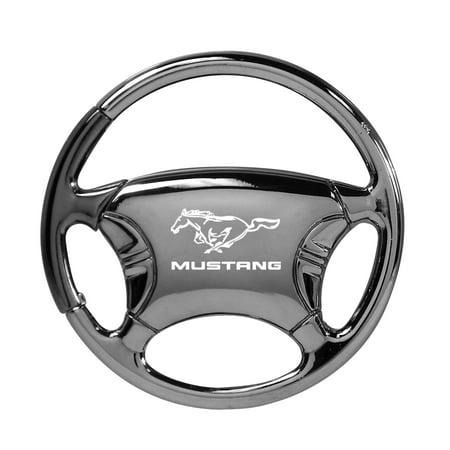 ford mustang black chrome steering wheel key chain ()