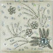 "2 Hand Crafted Elegant Silver Bead Encrusted Silk Jewelry Padded Keepsake Boxes 4"""