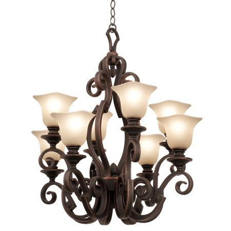 """Chandeliers 8 Light Bulb Fixture With Black Finish Piastra Glass Hand Forged Iron E26 30"""" 800 Watts"""