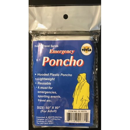 Emergency Adult Poncho (Rain Ponchos Wholesale)