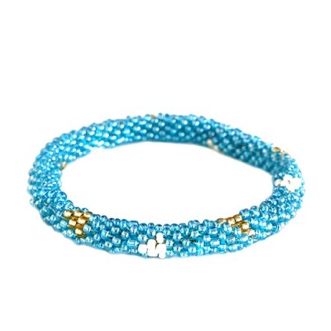 C Jewelry Blue And Gold Mixed Hand Beaded Roll On Bracelet