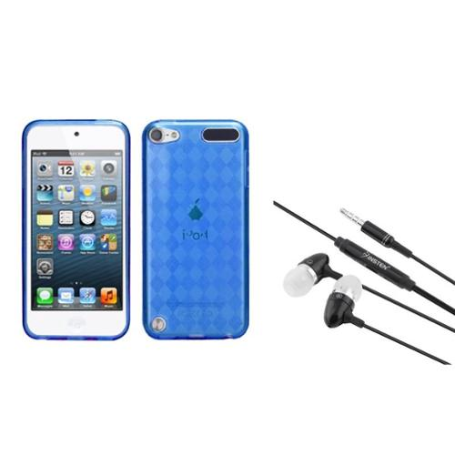 Insten Dark Blue Argyle pane Candy Skin Cover Case For iPod Touch 6 6G / 5 5G + 3.5mm Headset