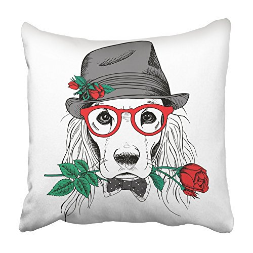 Cmfun Black Dog Cocker Spaniel In Elegant Gray Hat And Glasses With Red Rose White Pillowcase Cushion Cover 16x16 Inch Walmart Com Walmart Com