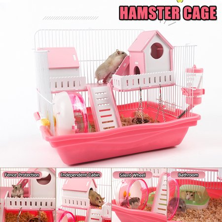 2 Floors Hamster Cage With Independent House & Bathroom Luxury Villas for Your Pet, Pink
