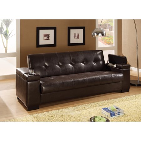 Modish Faux Leather Convertible Sofa Bed with Storage, Brown