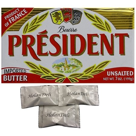 (Pack of 18) President Imported Unsalted Butter,7oz (199g). Includes HolanDeli Chocolate Mints. (Butter Mints)