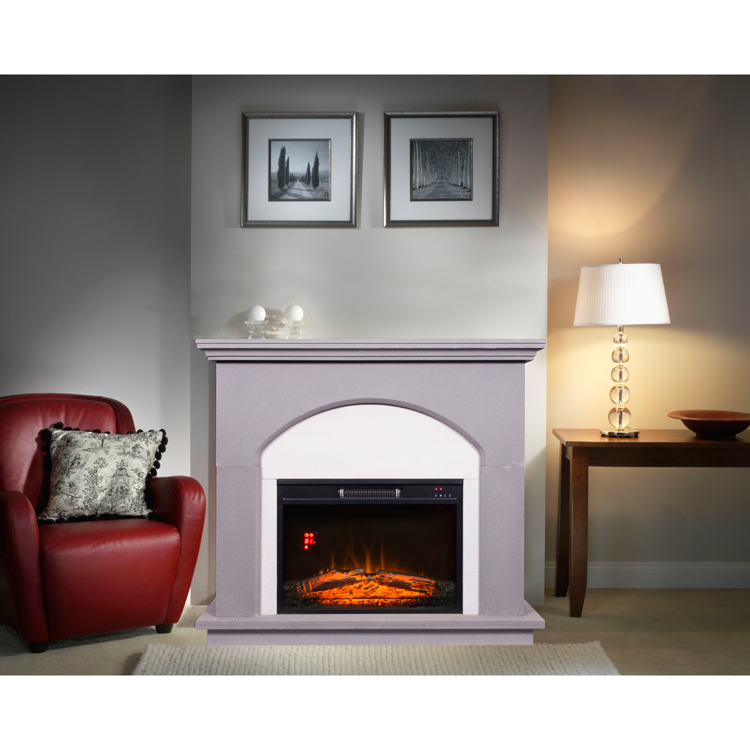 Decor Flame Electric Fireplace with 42inch Mantle