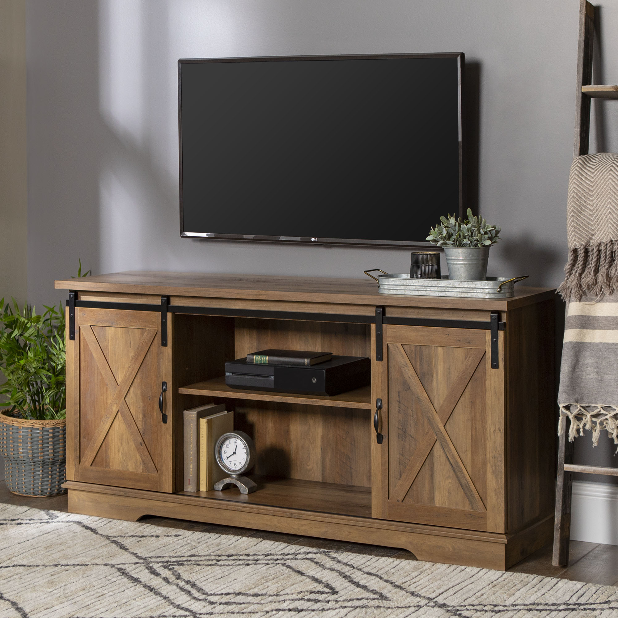 Details About Rustic Tv Stand Console Up To 65 Reclaimed Barn Door Wood Entertainment Center