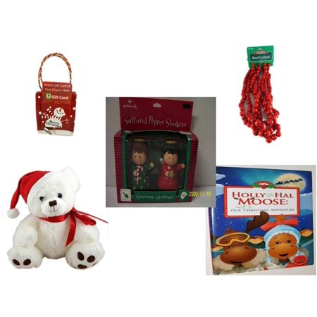 Christmas Fun Gift Bundle [5 Piece] - Musical Gift Card Holder Snowman -  Time Red Bead Garland 9' Foot - Hallmark Seasons Greetings Salt and Pepper Shaker Set - White  Bear  9