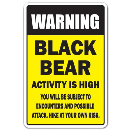 "BLACK BEAR ACTIVITY HIGH Decal hiking mountains camping security warning | Indoor/Outdoor | 5"" Tall"