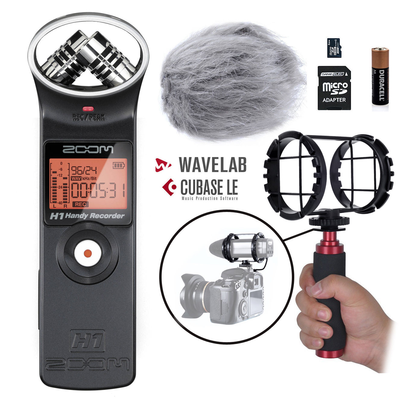 Zoom H1 Handy Portable Digital Recorder Kit with Deadcat ...