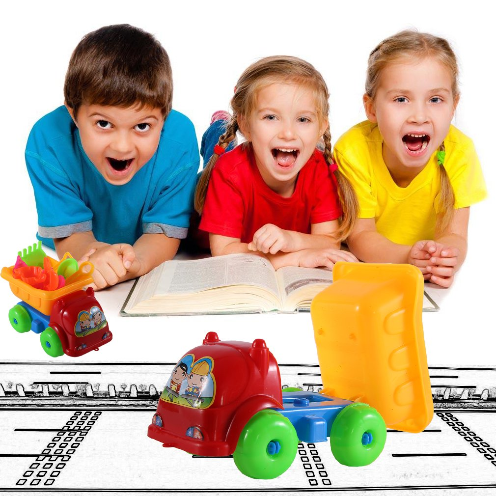 11Pcs set Unique Children Kids Beach Playing Truck Sand Dredging Toy Set by