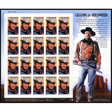 John Wayne, Legends Of Hollywood, Full Sheet of 20 x 37-Cent Postage Stamps, USA 2004, Scott 3876, Issued in 2004 By USPS Ship from US