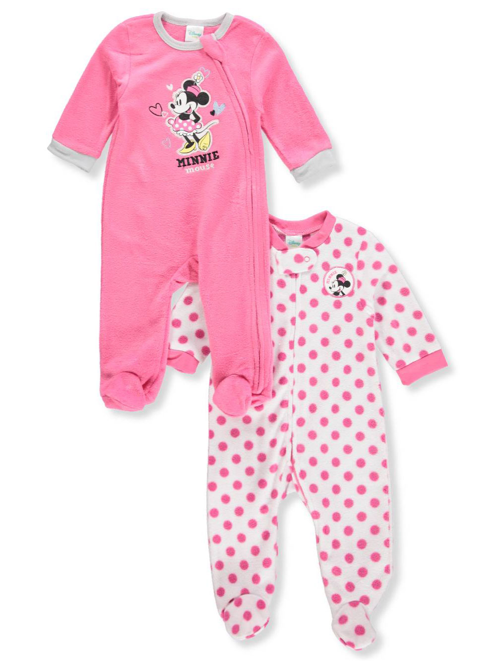 Disney Minnie Mouse Baby Girls' 2-Pack Footed Coveralls