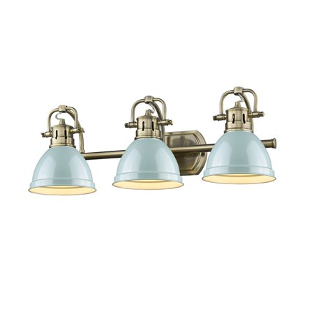 Beaumont Lane 3 Light Bath Vanity Light in Aged Brass with a Seafoam