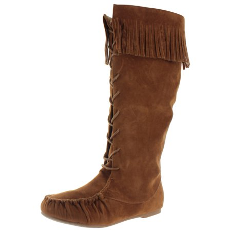 Moda Essentials Free Spirit Women's Tall Moccasin Fringe Boots ...
