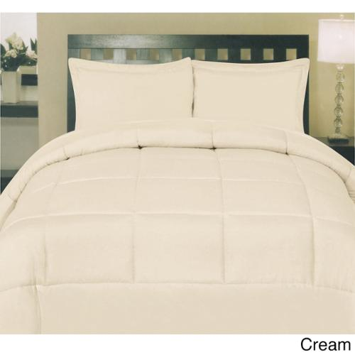 Plush Solid Color Box Stitch Down Alternative Comforter Cream - Queen